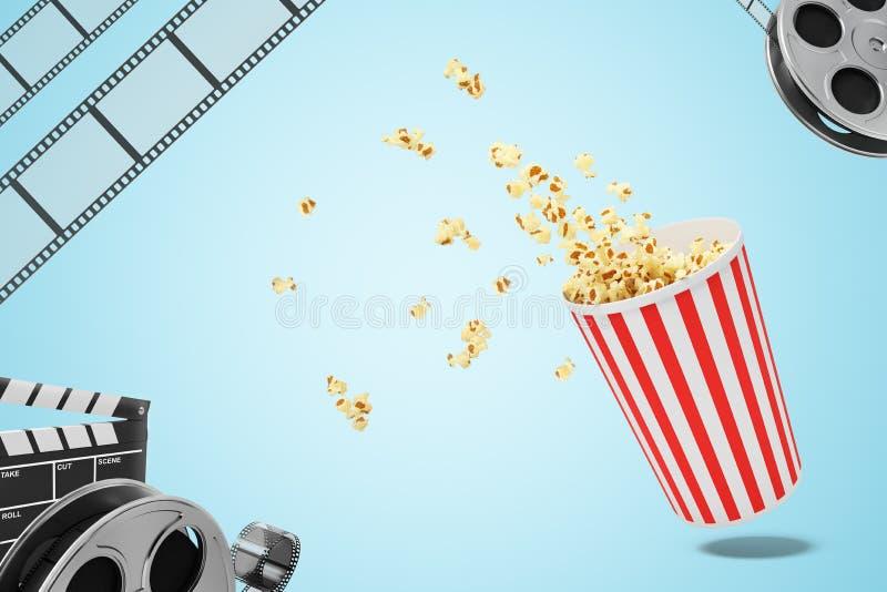 τρισδιάστατο renderinf ενός popcorn κάδου με popcorn, το εξέλικτρο ταινιών και clapper κινηματογράφων στο bluebackground απεικόνιση αποθεμάτων