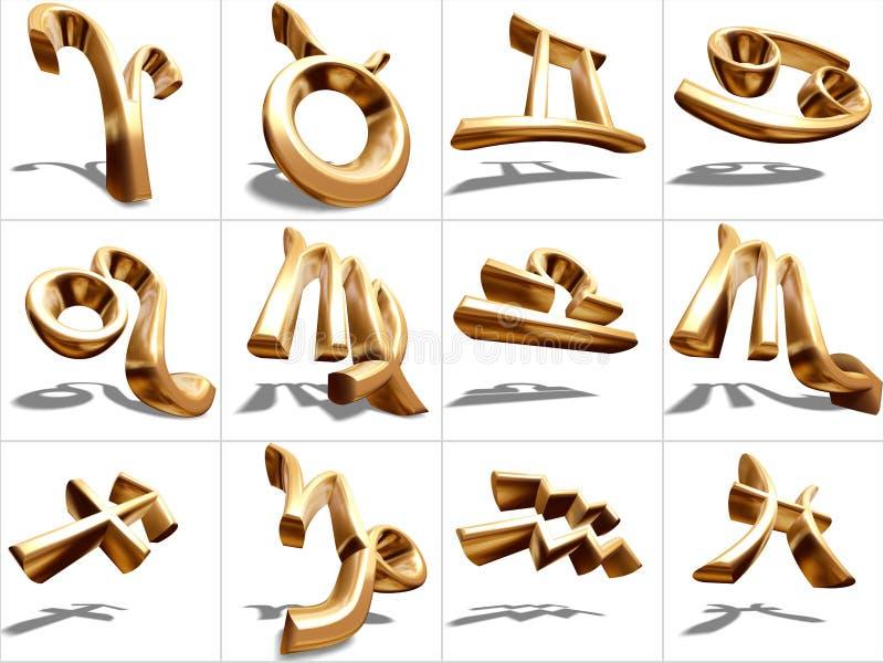 τρισδιάστατο zodiac σημαδιών απεικόνιση αποθεμάτων