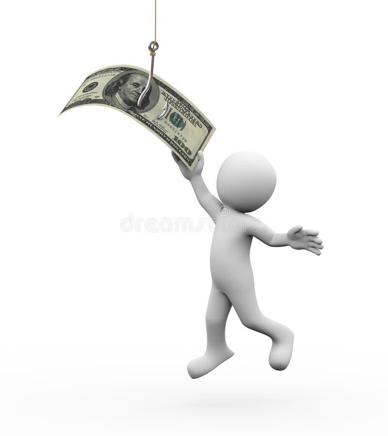 τρισδιάστατα άτομο και χρήματα στο γάντζο αλιείας απεικόνιση αποθεμάτων