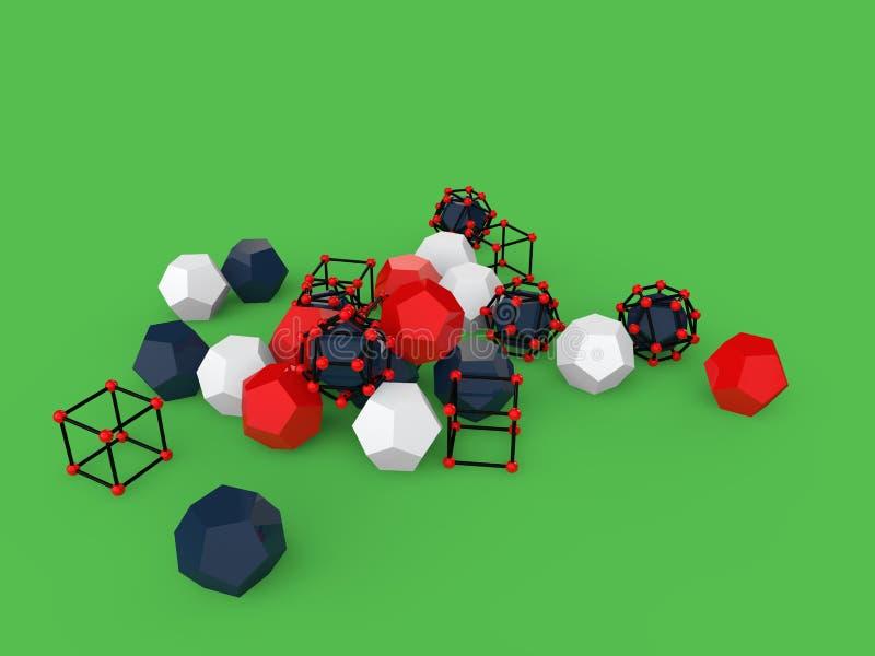 τρισδιάστατα αφηρημένα γεωμετρικά αντικείμενα στο πράσινο υπόβαθρο απεικόνιση αποθεμάτων