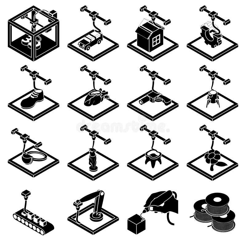 τρισδιάστατα εικονίδια εκτύπωσης καθορισμένα, απλό ύφος διανυσματική απεικόνιση