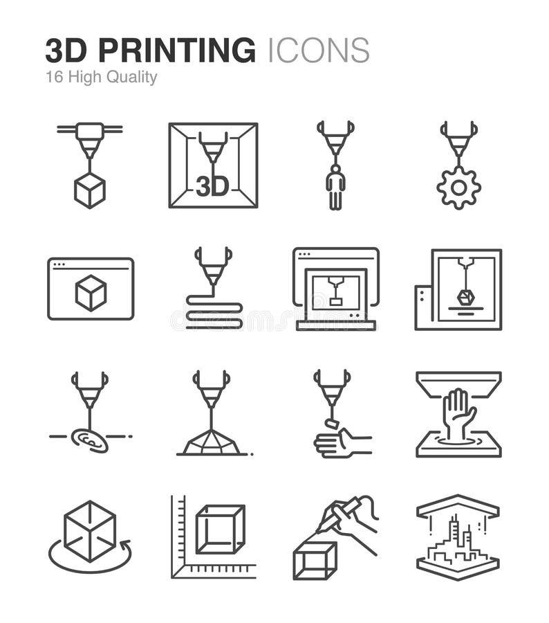 τρισδιάστατα εικονίδια εκτύπωσης απεικόνιση αποθεμάτων
