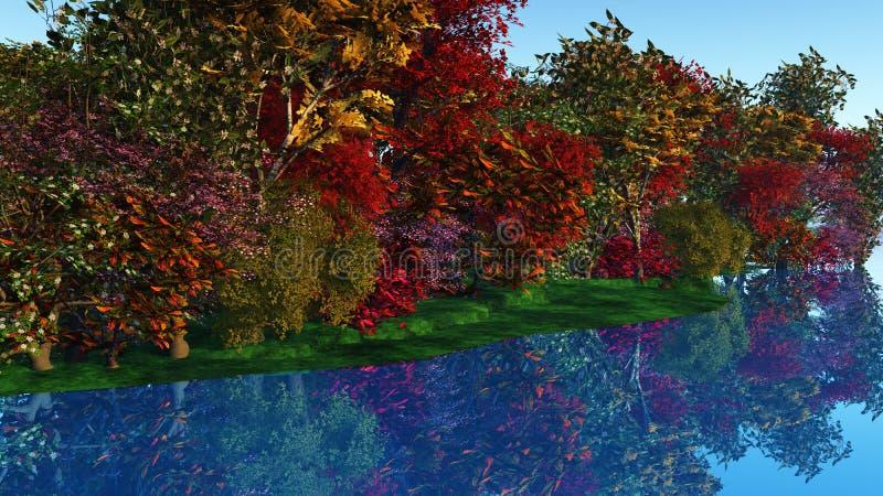 τρισδιάστατα ζωηρόχρωμα δέντρα ενάντια σε μια όχθη ποταμού ελεύθερη απεικόνιση δικαιώματος