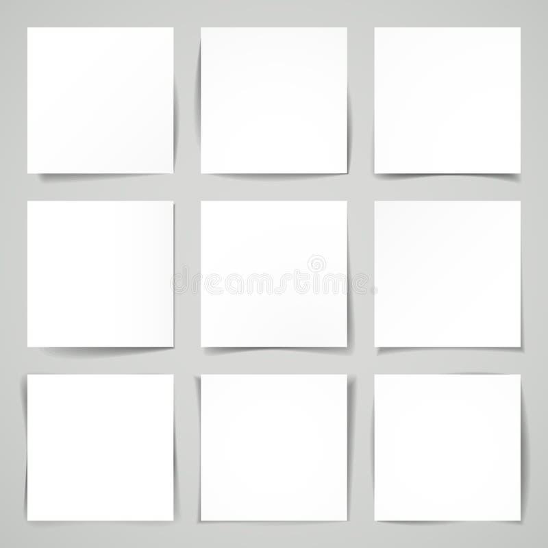 τρισδιάστατα διανυσματικά εννέα τετράγωνα του κενού εγγράφου διανυσματική απεικόνιση