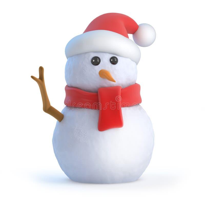 τρισδιάστατα κύματα χιονανθρώπων Santa γειά σου διανυσματική απεικόνιση
