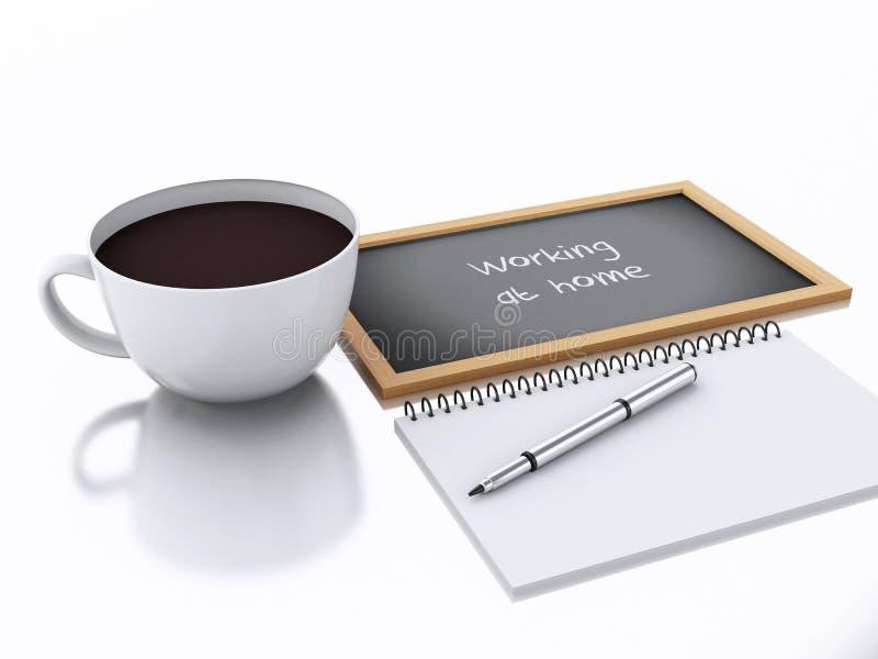 τρισδιάστατα σημειωματάριο και φλιτζάνι του καφέ να απασχοληθεί στο σπίτι στην έννοια στο άσπρο β ελεύθερη απεικόνιση δικαιώματος