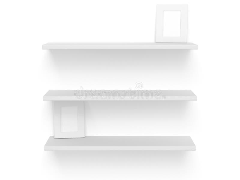 τρισδιάστατα τρία κενά κενά ράφια στο λευκό Πρότυπο διανυσματική απεικόνιση
