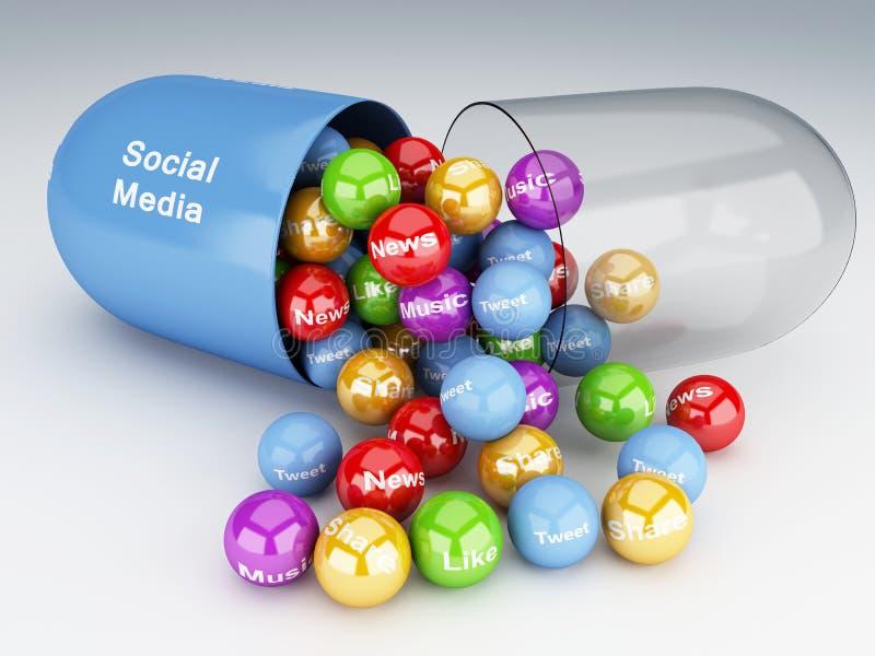 τρισδιάστατα χάπια με τα κοινωνικές μέσα και την έννοια δικτύωσης ελεύθερη απεικόνιση δικαιώματος