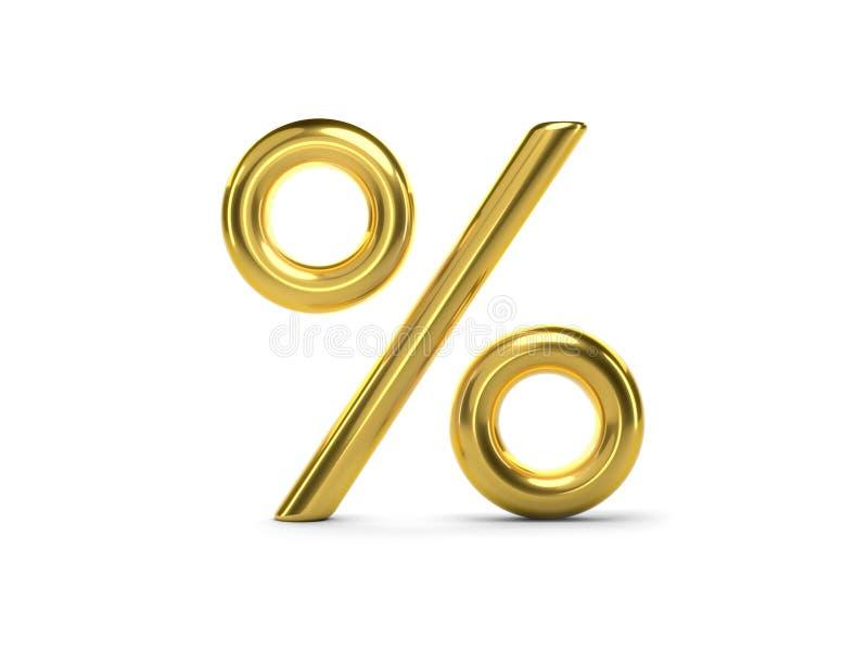 τρισδιάστατα χρυσά τοις εκατό ελεύθερη απεικόνιση δικαιώματος