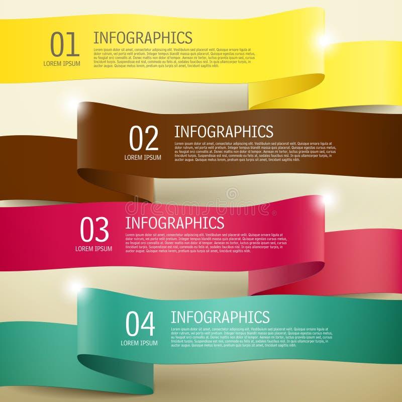 τρισδιάστατα infographic στοιχεία κορδελλών διανυσματική απεικόνιση