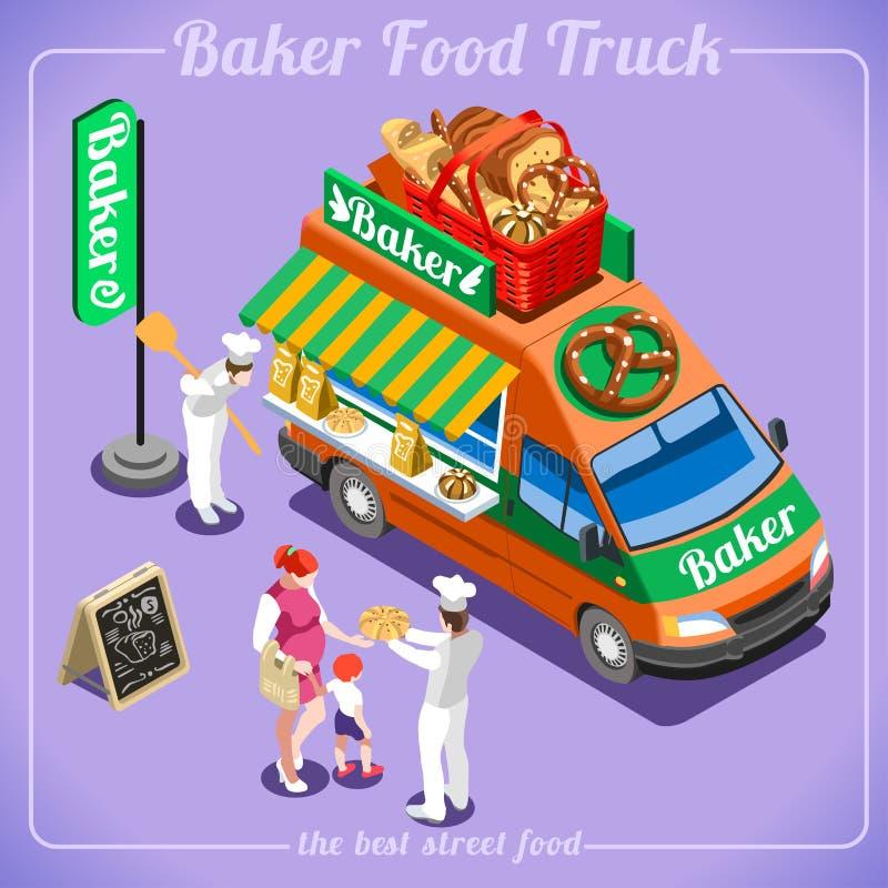 Τρισδιάστατα Isometric οχήματα αρτοποιείων φορτηγών τροφίμων απεικόνιση αποθεμάτων