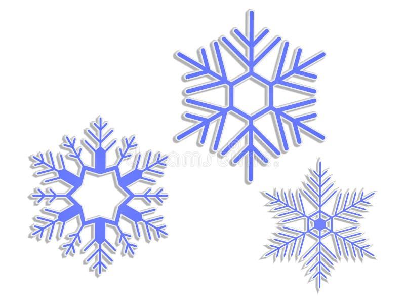 τρισδιάστατα snowflakes διανυσματική απεικόνιση