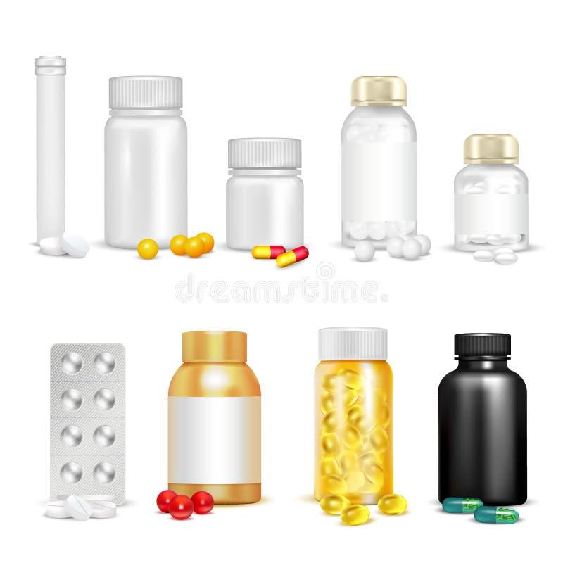 τρισδιάστατες βιταμίνες και σύνολο συσκευασίας διανυσματική απεικόνιση
