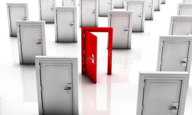 τρισδιάστατες κλειστές πόρτες στο λευκό και μια στο κόκκινο ανοικτό ελεύθερη απεικόνιση δικαιώματος