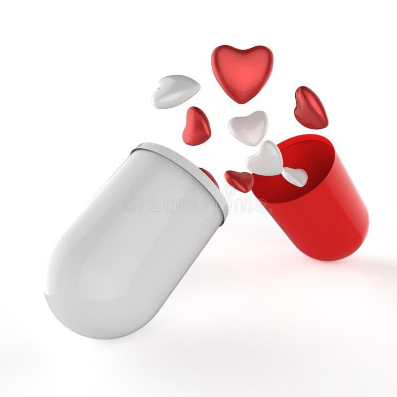 τρισδιάστατες πολλαπλάσιες καρδιές μέσα στο χάπι καψών απεικόνιση αποθεμάτων