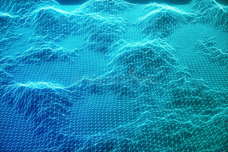 τρισδιάστατες συνδέσεις στο Διαδίκτυο έννοιας απεικόνισης στον υπολογισμό σύννεφων Πλέγμα τοπίων κυβερνοχώρου τρισδιάστατη τεχνολ ελεύθερη απεικόνιση δικαιώματος