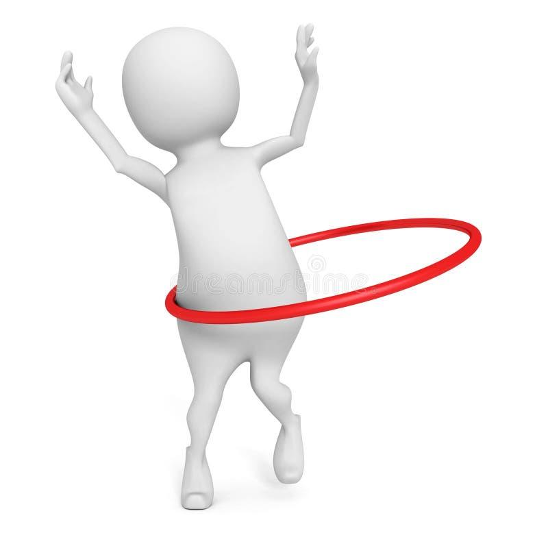 τρισδιάστατη άσκηση στεφανών hula παιχνιδιών ατόμων στο άσπρο υπόβαθρο διανυσματική απεικόνιση