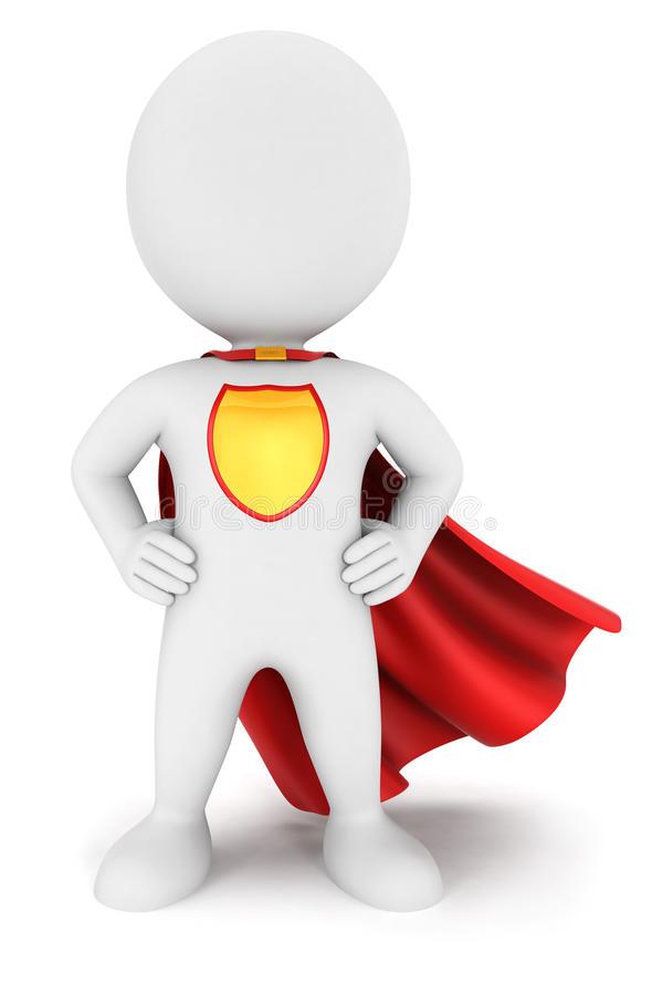 τρισδιάστατη άσπρη επιστροφή superhero ανθρώπων ελεύθερη απεικόνιση δικαιώματος