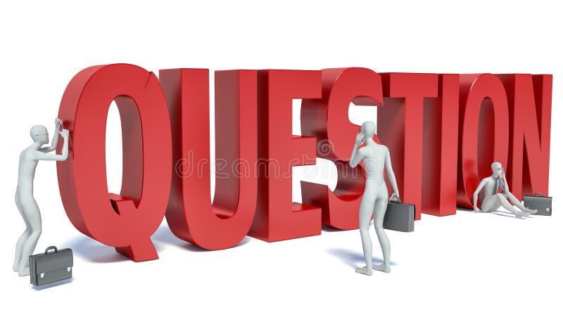 τρισδιάστατη άσπρη σημαντική ερώτηση ανθρώπων, άσπρο υπόβαθρο ελεύθερη απεικόνιση δικαιώματος