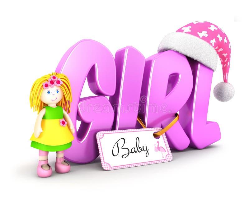 τρισδιάστατη έννοια κοριτσιών λέξης απεικόνιση αποθεμάτων