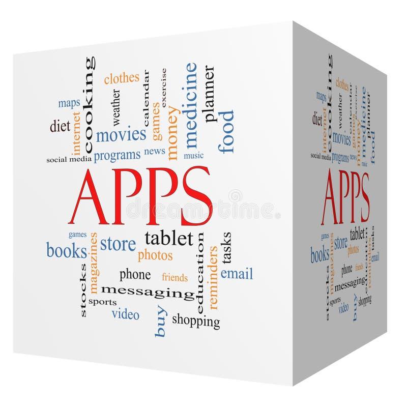 Τρισδιάστατη έννοια σύννεφων του Word κύβων Apps ελεύθερη απεικόνιση δικαιώματος