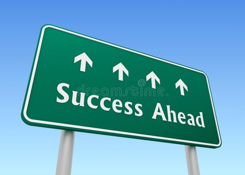 Τρισδιάστατη απεικόνιση έννοιας οδικών σημαδιών επιτυχίας μπροστά διανυσματική απεικόνιση
