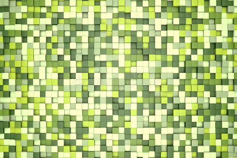 τρισδιάστατη απεικόνιση: αφηρημένο υπόβαθρο μωσαϊκών, χρωματισμένο άσπρο, ελαφρύ και σκούρο πράσινο, verdant, φυλλώδες, σμαραγδέν διανυσματική απεικόνιση