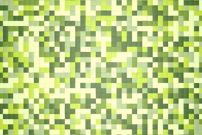 τρισδιάστατη απεικόνιση: αφηρημένο υπόβαθρο μωσαϊκών, χρωματισμένο άσπρο, ελαφρύ και σκούρο πράσινο, verdant, φυλλώδες, σμαραγδέν ελεύθερη απεικόνιση δικαιώματος