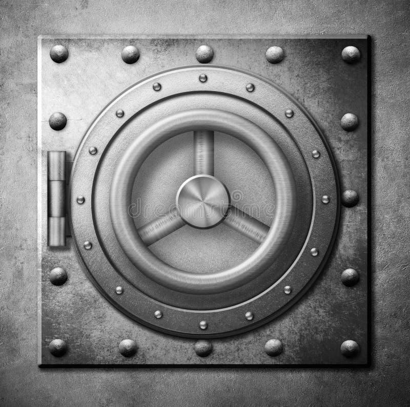 Τρισδιάστατη απεικόνιση εικονιδίων πορτών μετάλλων ασφαλής στοκ εικόνες