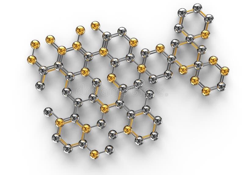τρισδιάστατη απεικόνιση επιστήμης του αφηρημένου μορίου ελεύθερη απεικόνιση δικαιώματος
