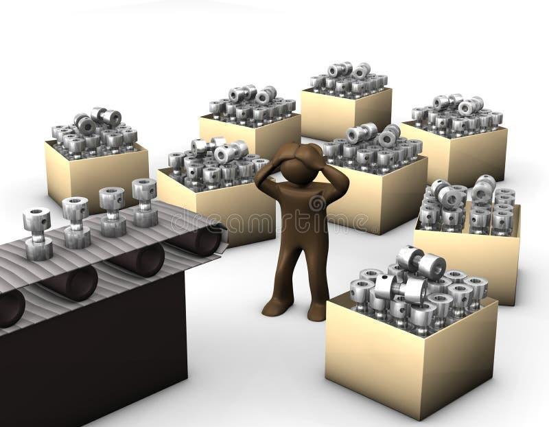 τρισδιάστατη απεικόνιση, καφετί ειδώλιο, συντριμμένος εργαζόμενος στο productio απεικόνιση αποθεμάτων