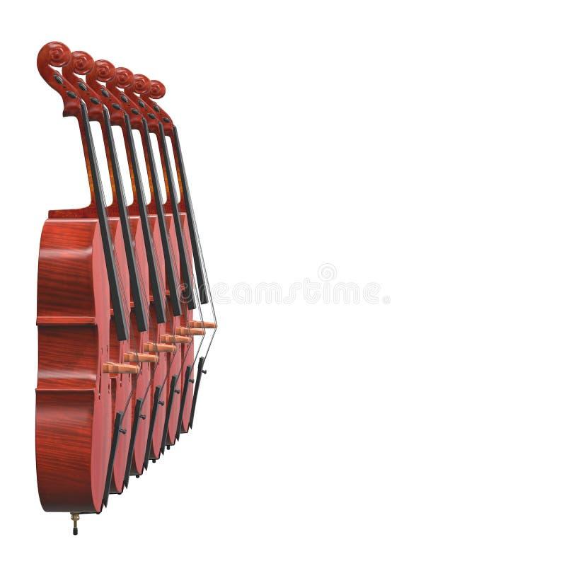 Τρισδιάστατη απεικόνιση οργάνων βιολοντσέλων μουσική ελεύθερη απεικόνιση δικαιώματος