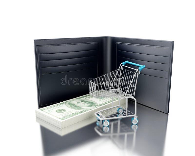 τρισδιάστατη απεικόνιση Πορτοφόλι με το σωρό των λογαριασμών και του κάρρου αγορών ελεύθερη απεικόνιση δικαιώματος