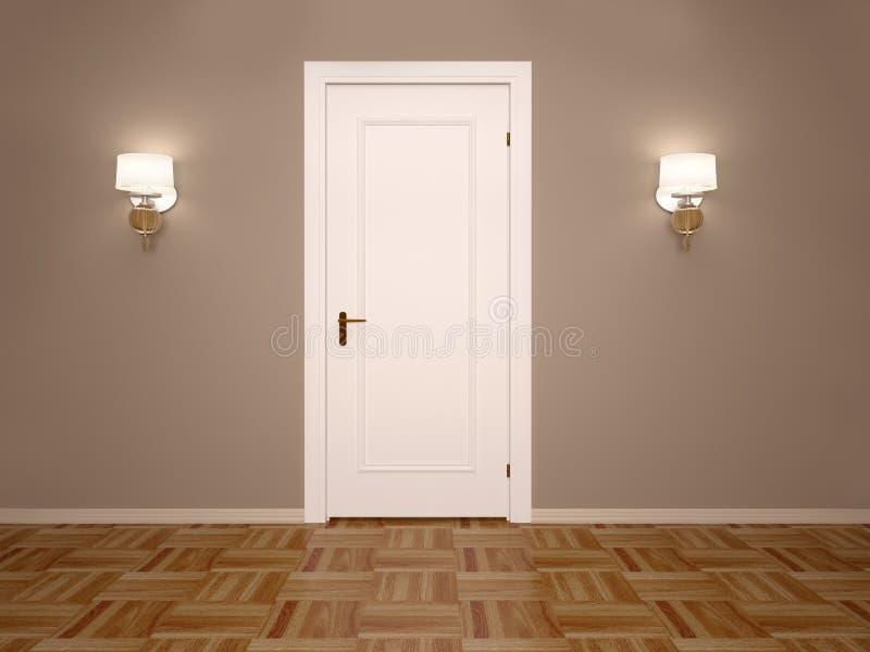 τρισδιάστατη απεικόνιση της άσπρης κλειστής πόρτας με δύο λαμπτήρες διανυσματική απεικόνιση