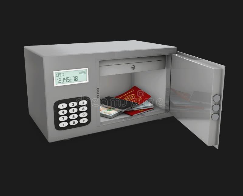 τρισδιάστατη απεικόνιση της ανοικτής ασφαλούς πόρτας με το διαβατήριο, το τηλέφωνο και τα χρήματα απεικόνιση αποθεμάτων