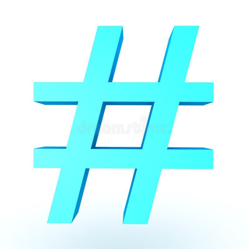 τρισδιάστατη απεικόνιση του λαμπρού μπλε σημαδιού hashtag ή λιβρών απεικόνιση αποθεμάτων