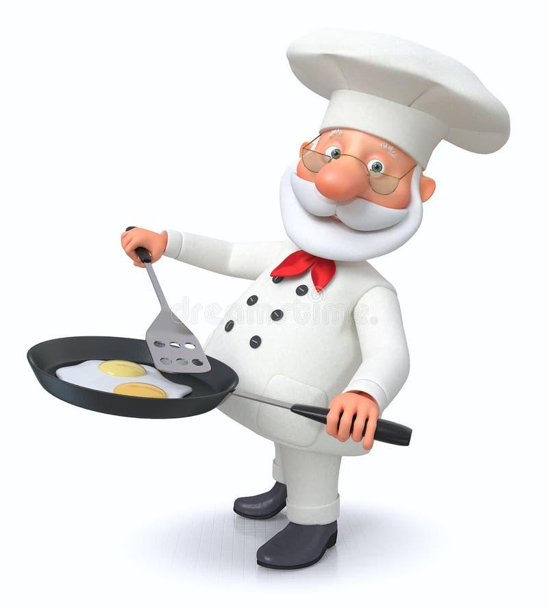 τρισδιάστατη απεικόνιση του μάγειρα με ένα τηγανίζοντας τηγάνι διανυσματική απεικόνιση