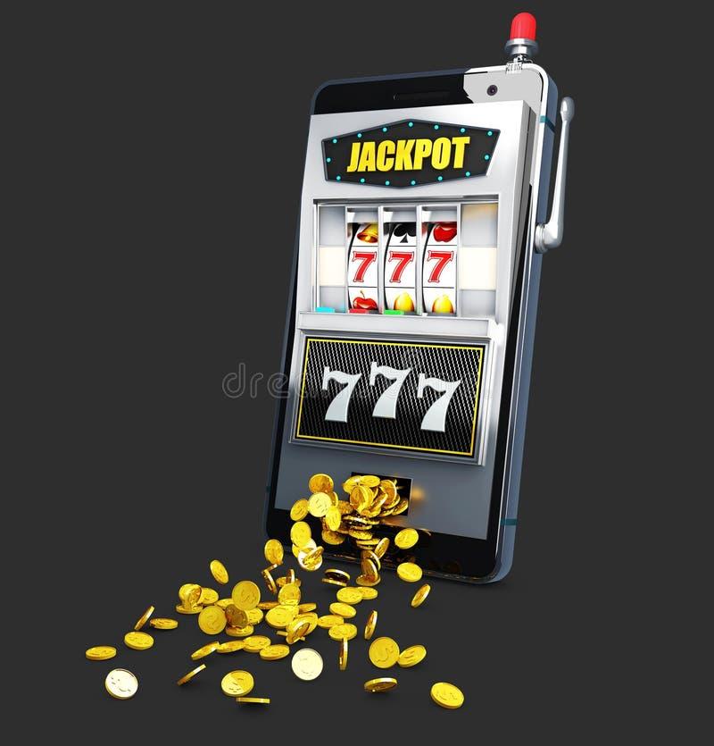 τρισδιάστατη απεικόνιση του μηχανήματος τυχερών παιχνιδιών με κέρματα με το τυχερά τζακ ποτ και τα νομίσματα sevens ελεύθερη απεικόνιση δικαιώματος