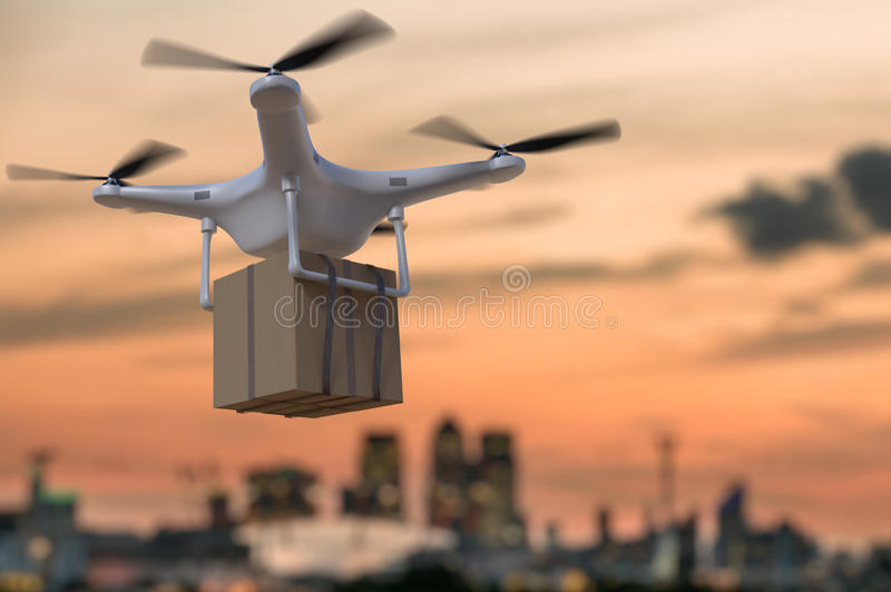 τρισδιάστατη απεικόνιση του πετώντας κηφήνα που παραδίδει τη συσκευασία στο ηλιοβασίλεμα διανυσματική απεικόνιση