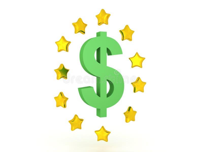 τρισδιάστατη απεικόνιση του συμβόλου δολαρίων με τα λαμπρά αστέρια γύρω από το ελεύθερη απεικόνιση δικαιώματος