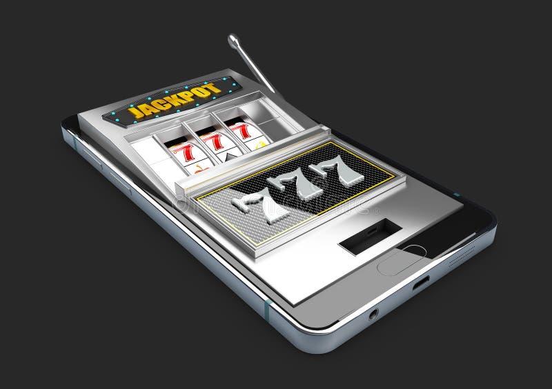τρισδιάστατη απεικόνιση του τηλεφώνου με το μηχάνημα τυχερών παιχνιδιών με κέρματα χαρτοπαικτικών λεσχών Έννοιες παιχνιδιού app διανυσματική απεικόνιση