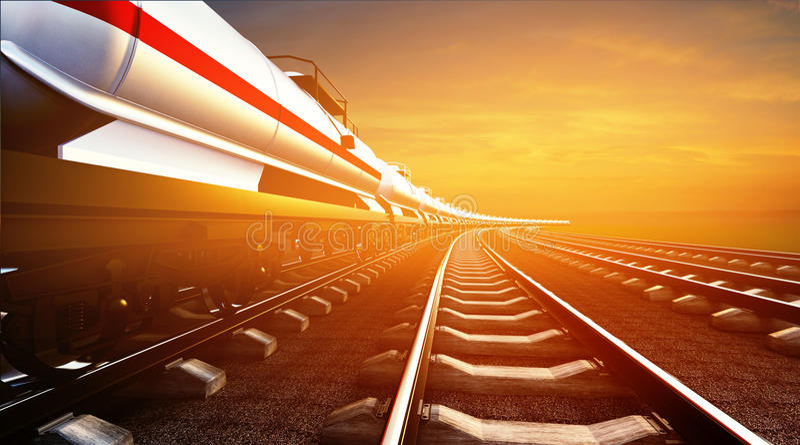 τρισδιάστατη απεικόνιση του φορτηγού τρένου με τις δεξαμενές πετρελαίου στο BA ουρανού διανυσματική απεικόνιση