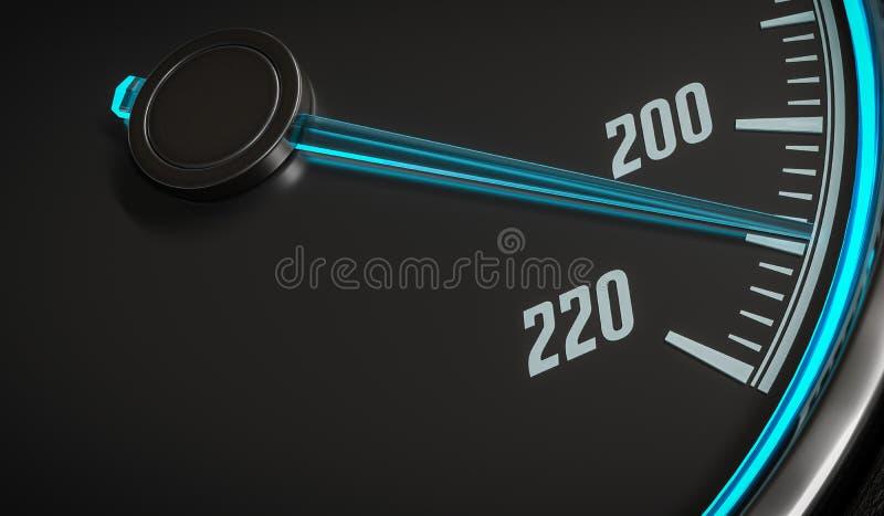 τρισδιάστατη απεικόνιση του φωτισμένου ταχυμέτρου στο εσωτερικό αυτοκινήτων διανυσματική απεικόνιση