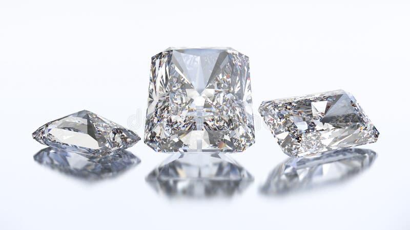 τρισδιάστατη απεικόνιση τρία ακτινοβόλος πέτρα διαμαντιών απεικόνιση αποθεμάτων
