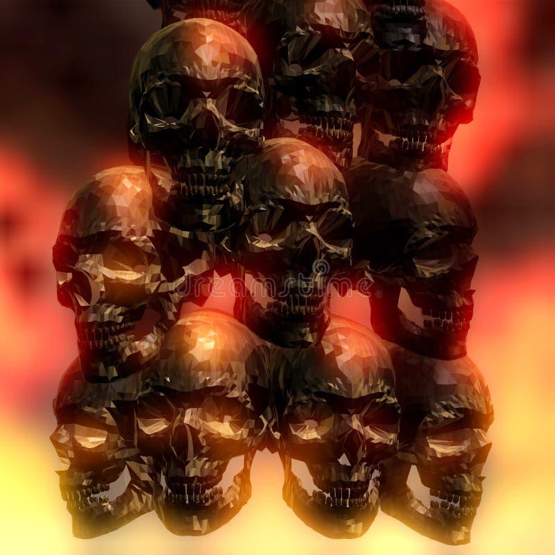 τρισδιάστατη απεικόνιση των ανατριχιαστικών κρανίων απεικόνιση αποθεμάτων