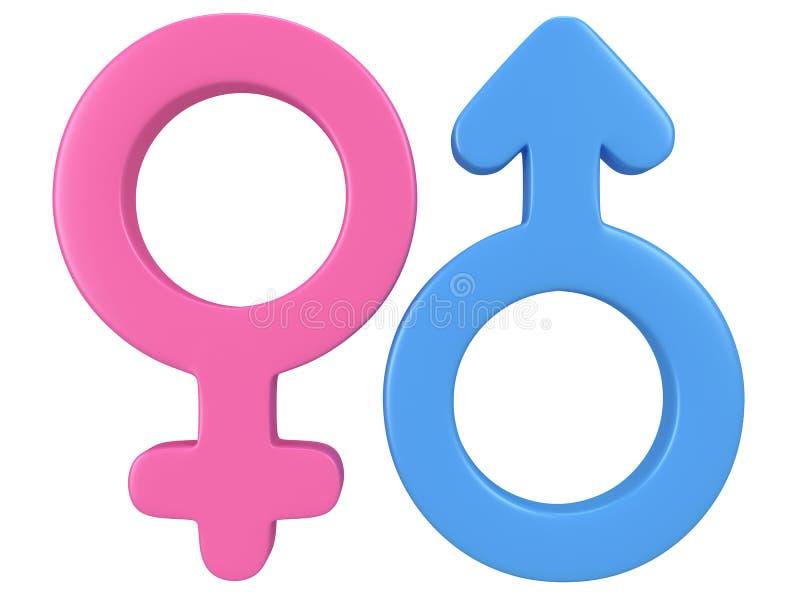 τρισδιάστατη απεικόνιση των αρσενικών και θηλυκών σημαδιών. ελεύθερη απεικόνιση δικαιώματος