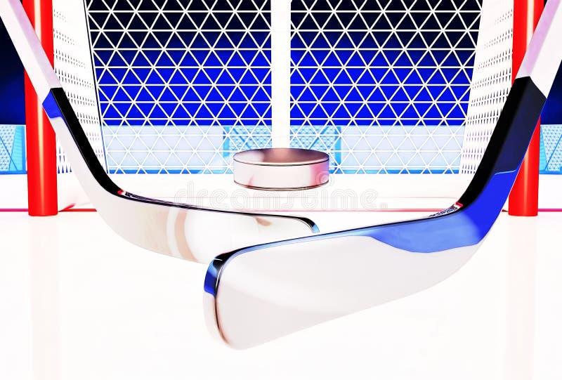τρισδιάστατη απεικόνιση των ραβδιών και της σφαίρας χόκεϋ στην αίθουσα παγοδρομίας πάγου ελεύθερη απεικόνιση δικαιώματος
