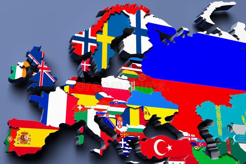 Τρισδιάστατη απεικόνιση χαρτών της Ευρώπης πολιτική απεικόνιση αποθεμάτων