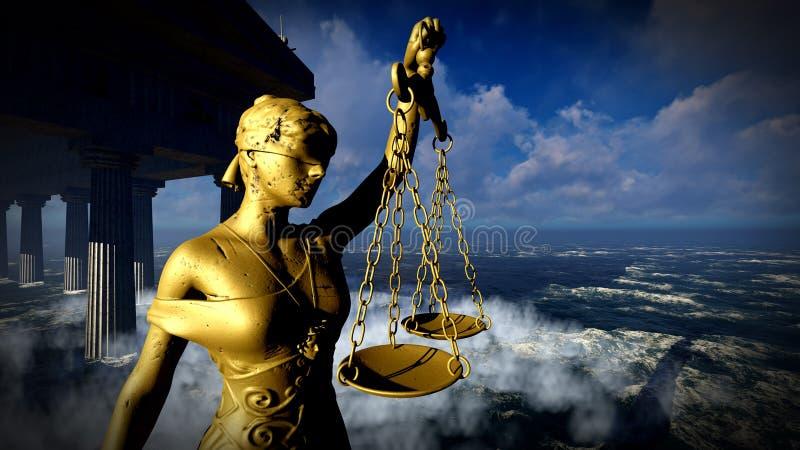 Τρισδιάστατη απεικόνιση Themis στο δικαστήριο απεικόνιση αποθεμάτων