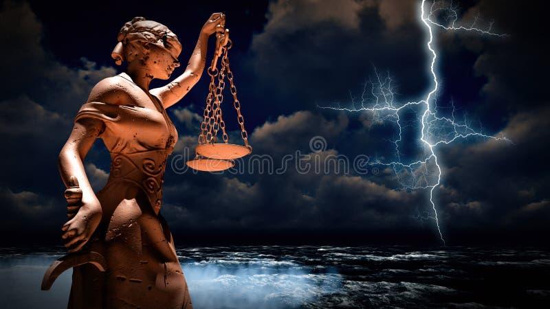 Τρισδιάστατη απεικόνιση Themis στο δικαστήριο ελεύθερη απεικόνιση δικαιώματος